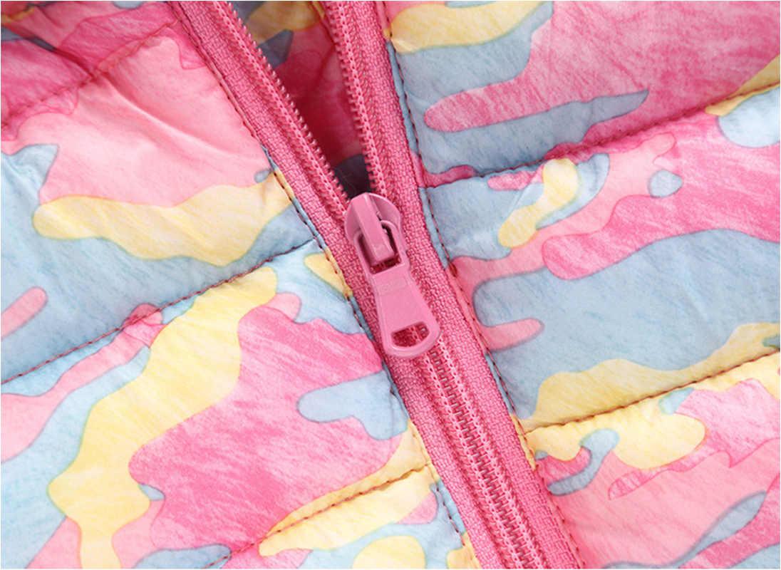 2019 חורף ילדים חדשים למטה מעיל דק הסוואה תינוק בני בנות בגדי ברדס רוכסן מעיל פעוטות להאריך ימים יותר ילד מעיילי