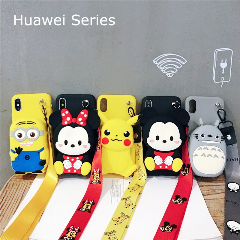 For Huawei P10 20 30 Lite Pro Mate 10 20 30 Y6 Y7 Y9 2018 2019 Cover Wallet Minnie Mickey Totoro Soft TPU Silicone Case