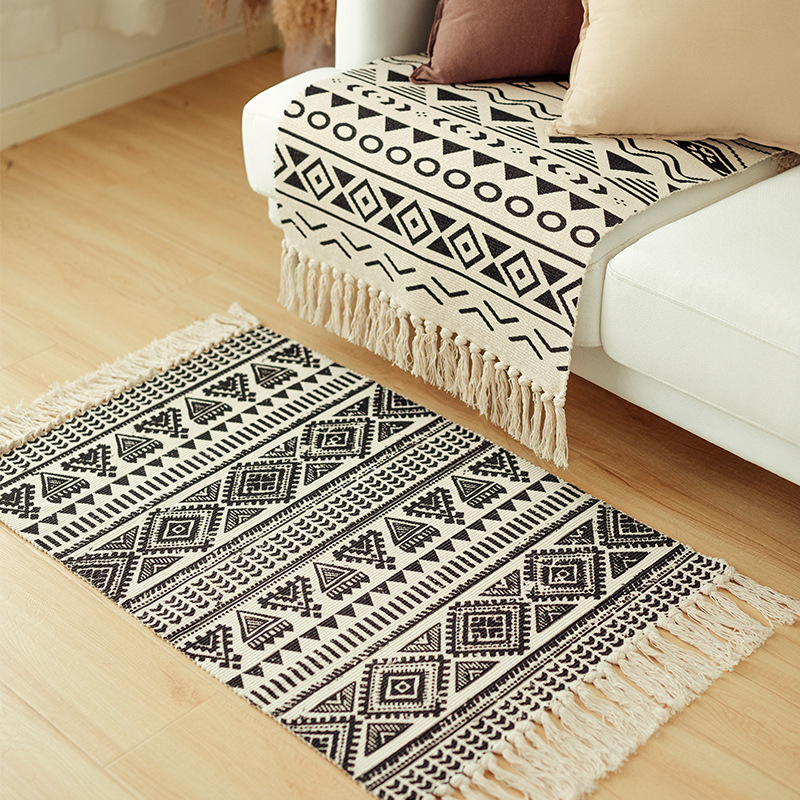 Cotton Rugs Washable Black And White