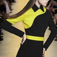 2019 otoño mujeres de manga larga A-Line vestido negro amarillo Peter Pan Collar Slim cintura calle moda vestidos de invierno