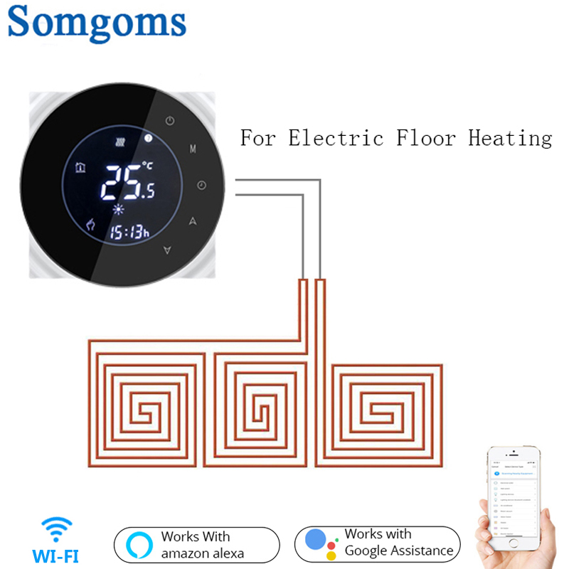 Wifi Smart Electric Floor Heating Thermostat Tuya APP Remote Control Backlight Weekly LCD Touch Screen Temperature Controller