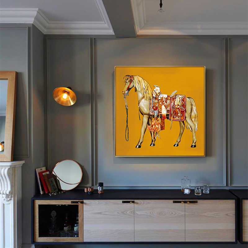 War Horse Canvas Painting Blue Orange
