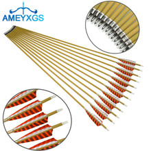 10Pcs 30 Spine 500 Archery Pure Carbon Arrows Wooden Skin Shafts 4 Natural Feather Arrow Hunting Shooting Accessories