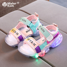 Size 21-30 Children Soft Sole Beach Shoes Suitable For Kids Boys Girls Glowing Baby Non-slip Luminous Sandals With Led Lights cheap Mater Kom Rubber 13-24m 25-36m CN(Origin) Summer unisex Soft Leather Flat Heels Hook Loop Fits true to size take your normal size