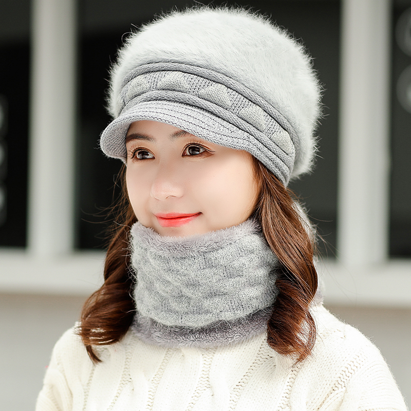 New Rabbit Hair Knitted Winter Hat Scarf Set Women Thick Wool Beanies Scarf Female Knitted Winter Accessories Girls Gift