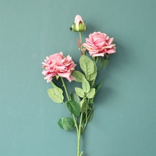 3 Head Angle Rose Simulation Flower  Wind Home Decoration Wedding  Flower Artificial Flower Home Decoration artificial fog smog artificial flower wedding decoration wind simulation artificial wall