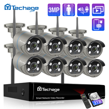Video surveillan 8CH 3MP Security Wireless Camera Kit Humen Detected Two Way Audio Record P2P WIFI IP Camera CCTV WIFI System