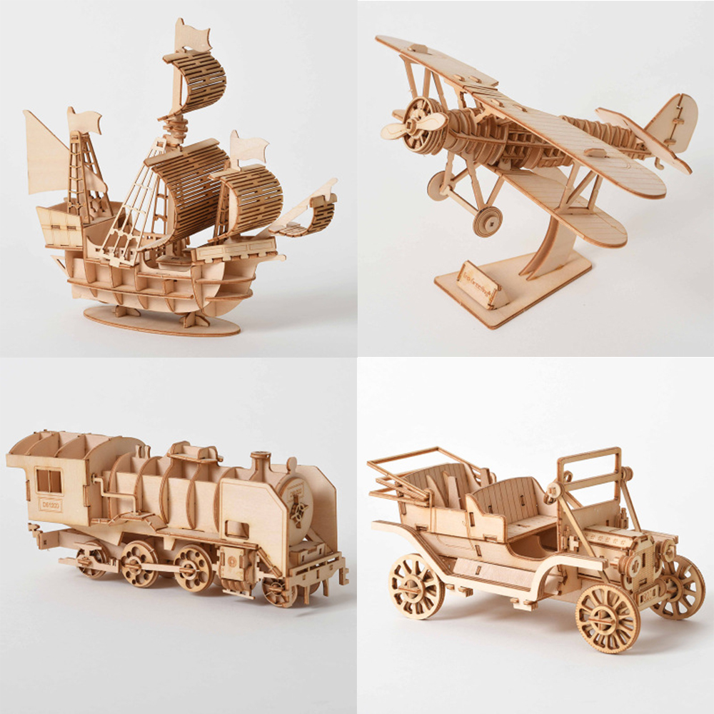 Laser Cutting Sailing Ship Biplane Steam Locomotive Toys 3D Wooden Puzzle Assembly Wood Kits Desk Decoration for Children Kids(China)