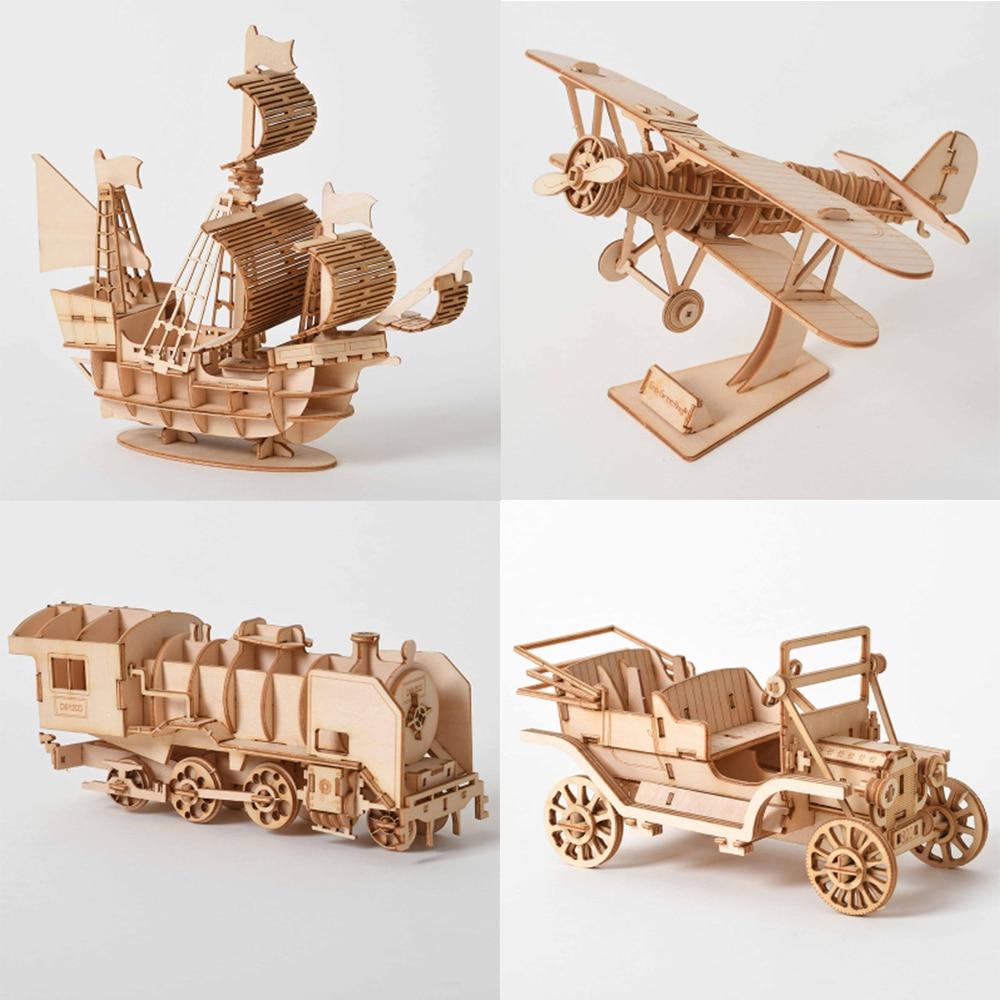 Laser Cutting Sailing Ship Biplane Steam Locomotive Toys 3D Wooden Puzzle Assembly Wood Kits Desk Decoration For Children Kids