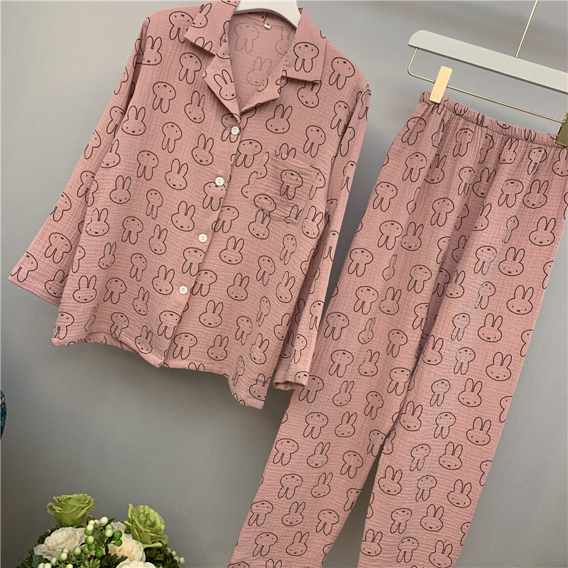 Lisacmvpnel Autumn New Pure Cotton Women Pajamas Long Sleeve Rabbit Pattern Wash Cotton Yarn Pijama