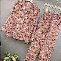Lisacmvpnel Autumn New Pure Cotton Women Pajamas Long Sleeve Rabbit Pattern Wash Cotton Yarn Pijama