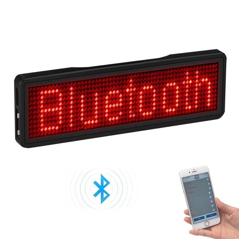 Bluetooth LED insignia recargable Led nombre etiqueta 11*55 ancho LED marca comercial con imán y pin para fiesta evento reunión