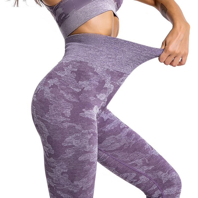 Womens High Waist Seamless Leggings Gym Fitness Camo Sports Yoga Pants Exercise