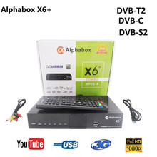 Combo DVB-S2/T2/C récepteur de télévision par Satellite Alphabox X6 + prise en charge Cccam Newcamd Mgcamd Powervu clé TV tourneur USB Wifi alphabox x6 +(China)