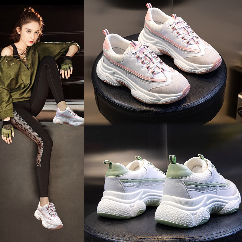 Yiluan Women Shoes 2020 Spring Platform Sneakers Flat Sneakers Leather Trainers Casual Shoes Woman Brand Summer Sneakers Pink