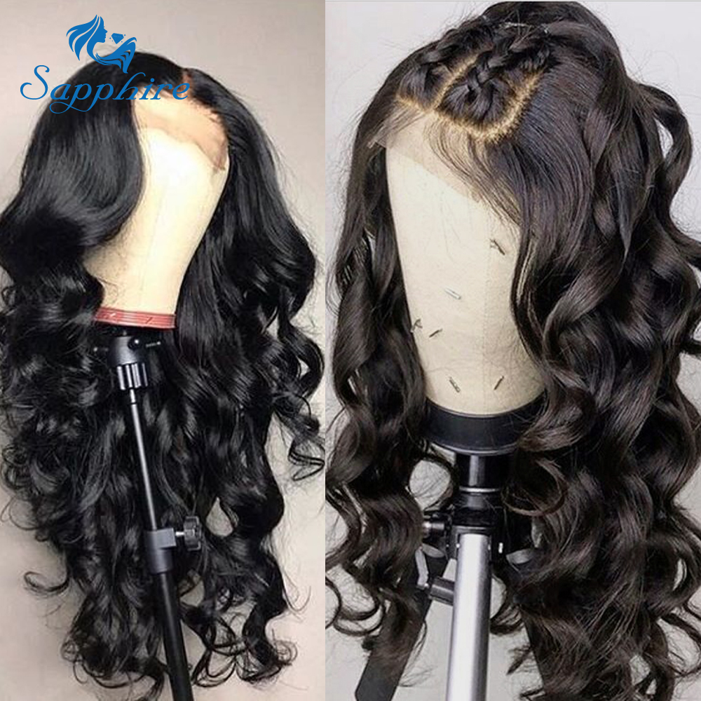 H98210e1b1d0041e8a91a05264a73473cK Sapphire Brazilian Remy Human Hair Wigs 4X4 Pre Plucked Brazilian Body Wave Lace Closure Wigs With Baby Hair For Black Women