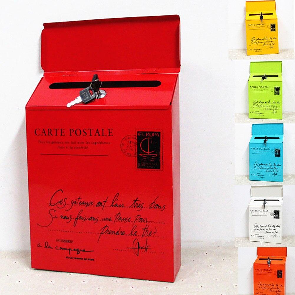con cerradura segura y dos llaves 65 x 40 x 23 cm para exteriores InLoveArts Buz/ón de correo para paquetes grande tama/ño de buz/ón de correo grande montado en la pared