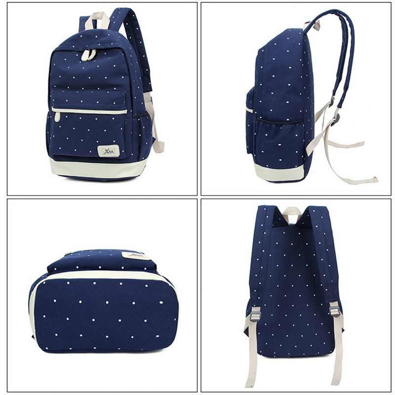 DIHOPE 3 sztuk/zestaw Dot druk na płótnie plecak kobiety powrót do szkoły torby dla nastoletnich podróży plecaki kobiet tornister