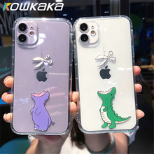 Kowkaka Cute Dinosaur Couple Phone Case For iPhone 11 Pro Max XS Max XR X 7 8 Plus Funny Animal Fundas Clear Shockproof Shell