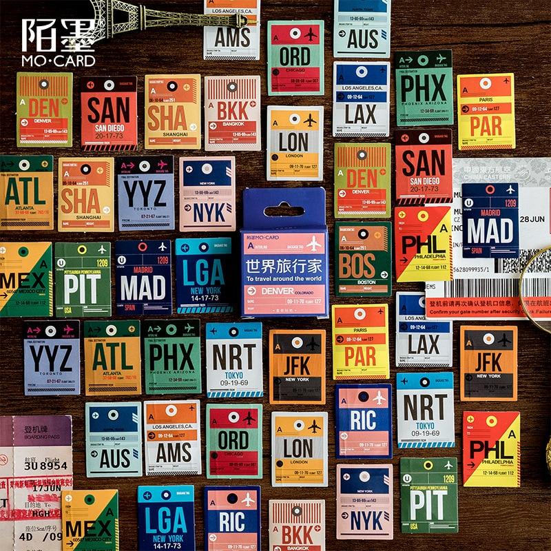 45pcs/pack Paper Sticker Set Vintage Postmark Stamp Stationery Stickers Decor Label For Scrapbooking Journaling Album Planner