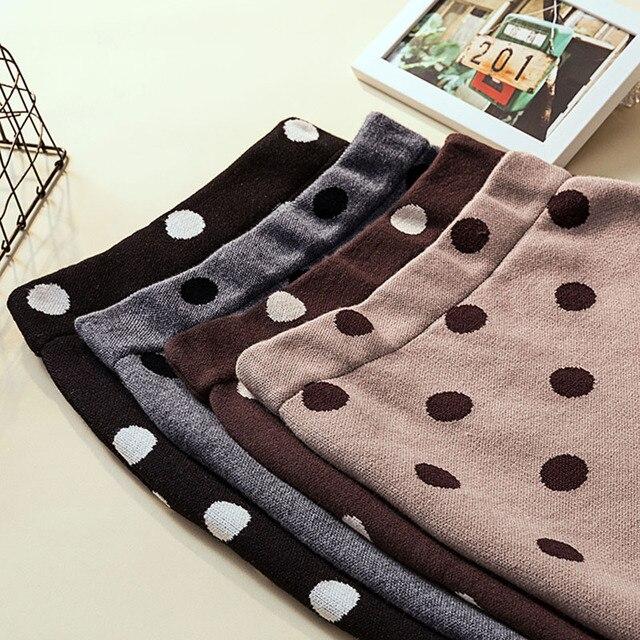 2019 autumn winter Polka Dot Knitted skirt women stretch high waist soft knit skirts woman 4