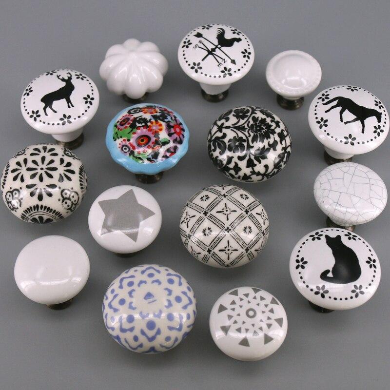 1pc cômoda puxadores para sala de crianças cerâmica funiture armário maçaneta da porta