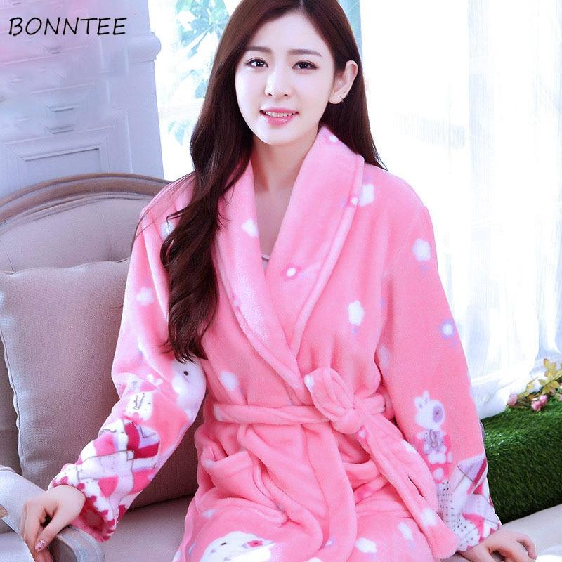 Robes Women Winter Sleepwear Thicken Long Bathrobe Womens Flower Flannel Kimono Nightwear Warm Soft Full Sleeve Print Cartoon