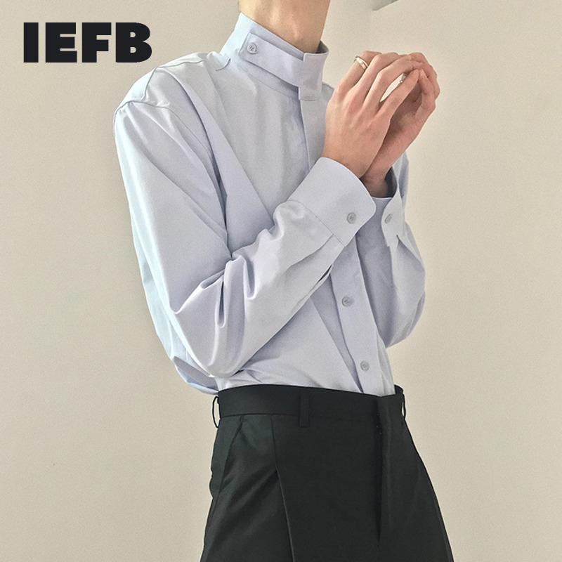 IEFB /men's wear loose korean trendy stand collar long sleeve shirts vent hme loose casual all-match white tops 2020 new 9Y1480 1