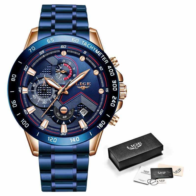 Reloj de lujo para hombres de negocios LIGE reloj de pulsera de acero inoxidable cronógrafo ejército militar relojes de cuarzo reloj Masculino