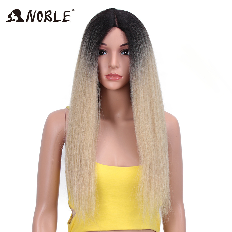 Noble Synthetic Lace Front Wig Long Kinky Straight 0mbre Wig 28 Inch Wigs For Black Women Lace Front Synthetic Wigs