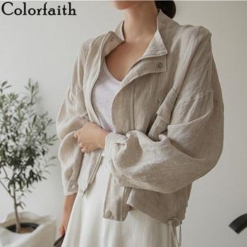 Colorfaith New 2021 Summer Autumn Women's Jacket Stand Collar Casual Pockets Cargo Cotton and Linen Zipper Short Tops JK8196 1