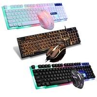 Tastiera da gioco cablata USB Set tastiera Mouse arcobaleno colorato 104 tasti retroilluminazione RGB Mouse da gioco e Kit tastiera Home Office