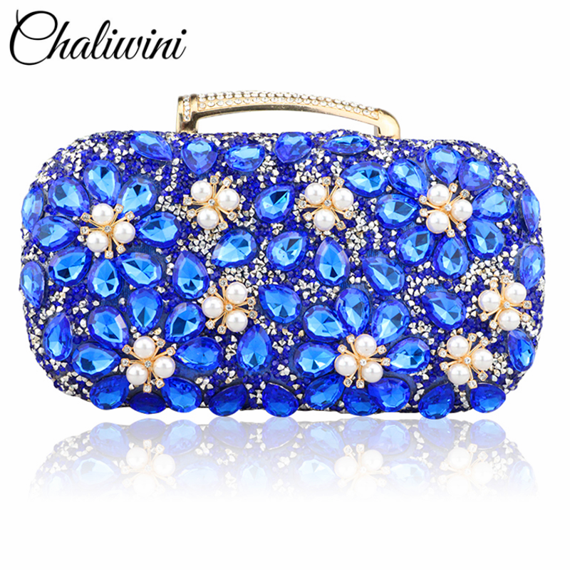 New Fashion Pearl Flower Clutch In Women's Totes Blue Diamond Wallet  Evening Bag Dinner Party Lady Wedding Flower Clutch Purse