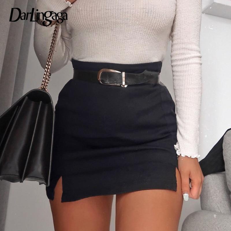 Darlingaga Side Split Black Bodycon High Waist Skirt Solid Fashion Mini Skirt Women Sexy 2020 New Summer Skirts Bottom Slim Saia
