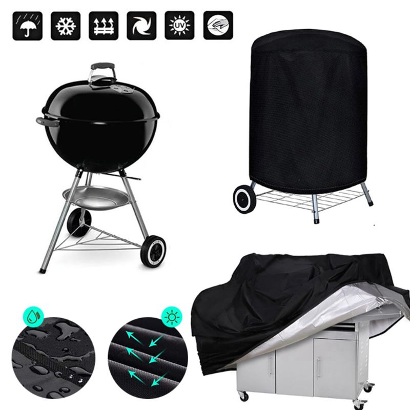 1PC BBQ Cover Outdoor Dust Waterproof Weber Heavy Duty Charbroil Grill Cover Rain Protective Outdoor Barbecue Cover Round Bb 4