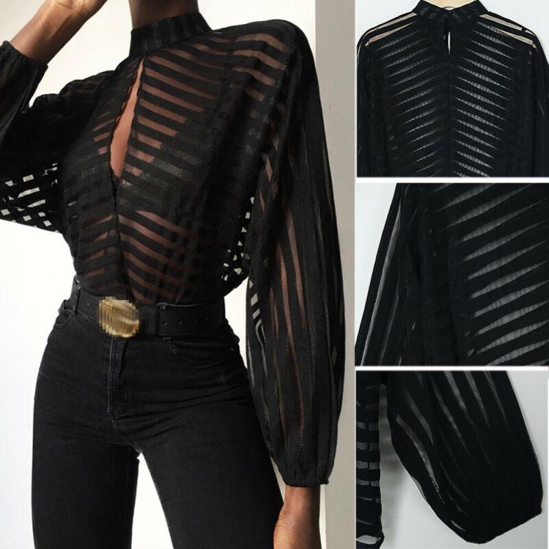 Women Chic See Through Tops Shirts Sheer Mesh Striped Blouse Long Puff Sleeve Shirt Elegant Hollow Female Blusas OL Work Formal