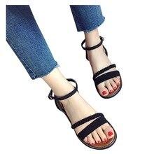 38 # sandalias de mujer, zapatos Vintage de verano con tiras, Sandalias planas, zapatos, sandalias casuales para playa, sandalias Sandali Donna Eleganti