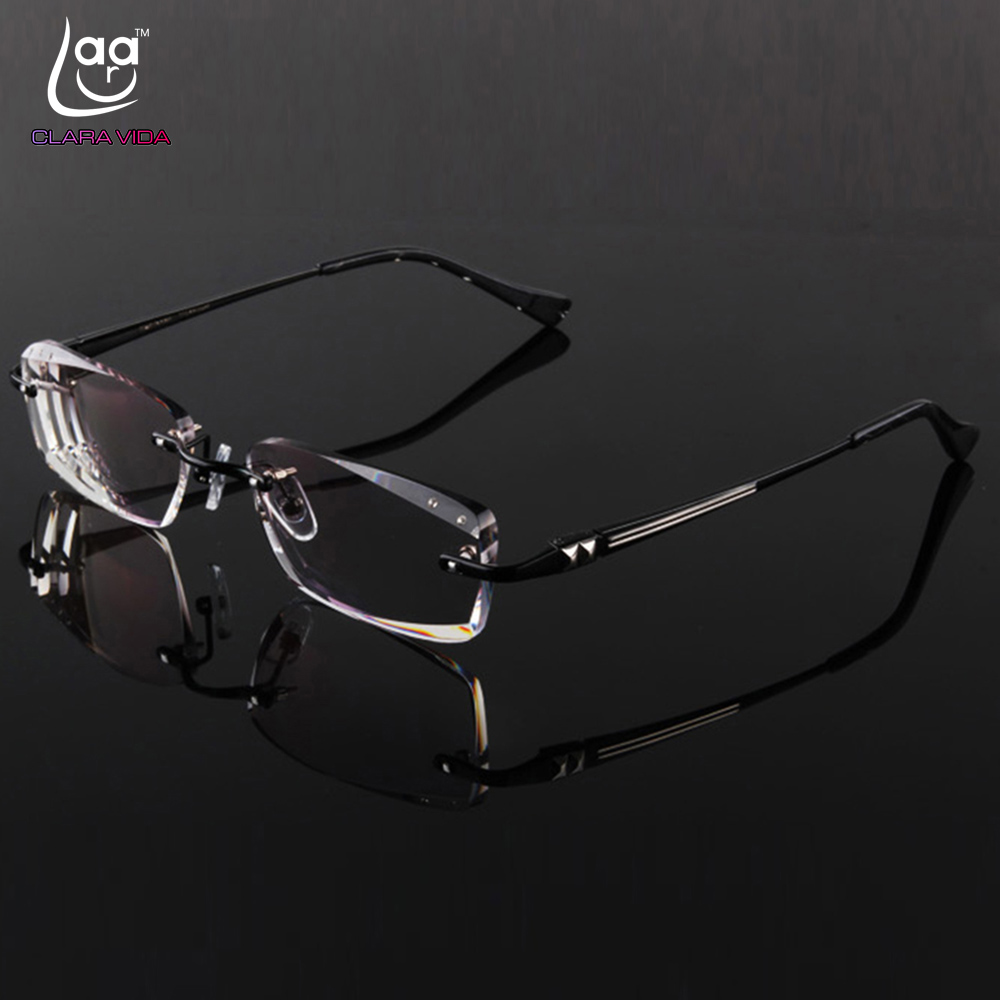 Luxury PRIVATE Custom Manual Pure Titanium Frame Diamond Cut High-elastic Tinted Lenses Prescription Glasses Photochromic