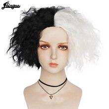 【Ebingoo】Danganronpa Monokuma Wig Cosplay Costume Dangan Ronpa Women Men Short White Black Synthetic Hair Halloween Party Wigs