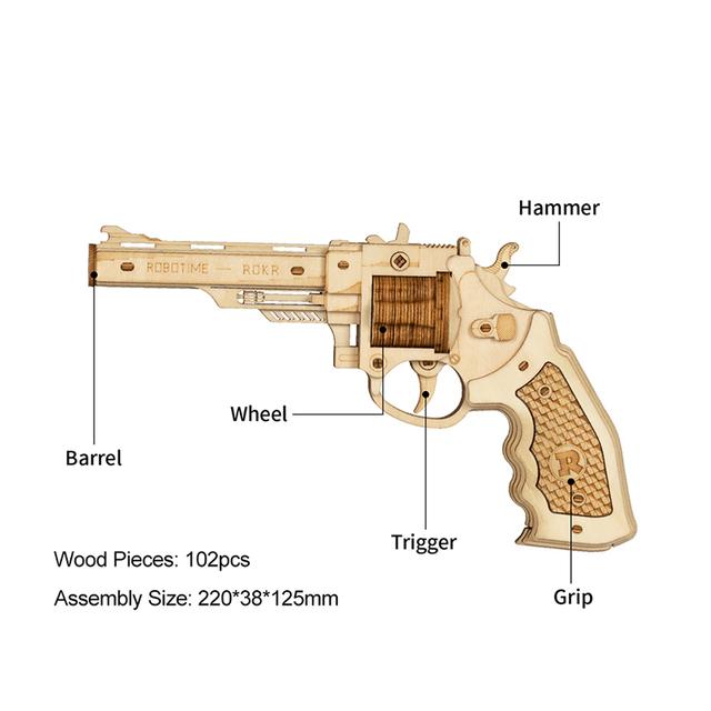 Robotime ROKR Revolver Gun Blocks Model Toys 3D Wooden Puzzle Games Crafts Gift For Children Kids Boys Birthday Gift