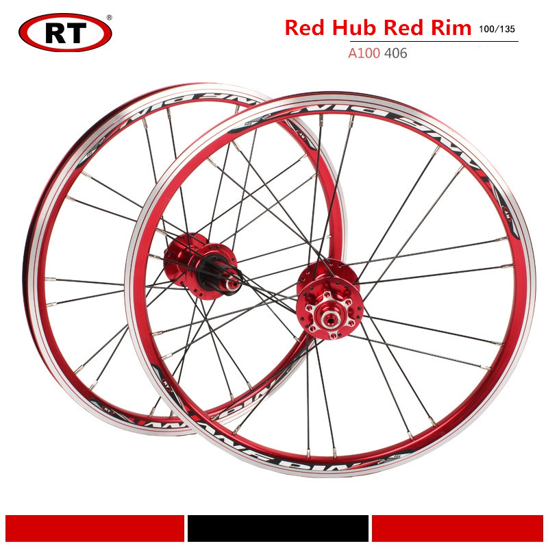 RT A100 406/451 <font><b>20</b></font> inch Folding Bike <font><b>BMX</b></font> Ultra Light <font><b>Wheel</b></font> Set Front 2 Rear 5 Bearing Hub Wheelset Disc/V Brake image