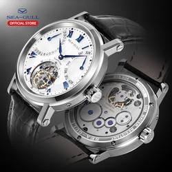 Seagull zegarek męski mechaniczny zegarek z tourbillonem dzień data przezroczysty zegarek tourbillion zegarek skeleton zegarki mechaniczny zegarek 40mm