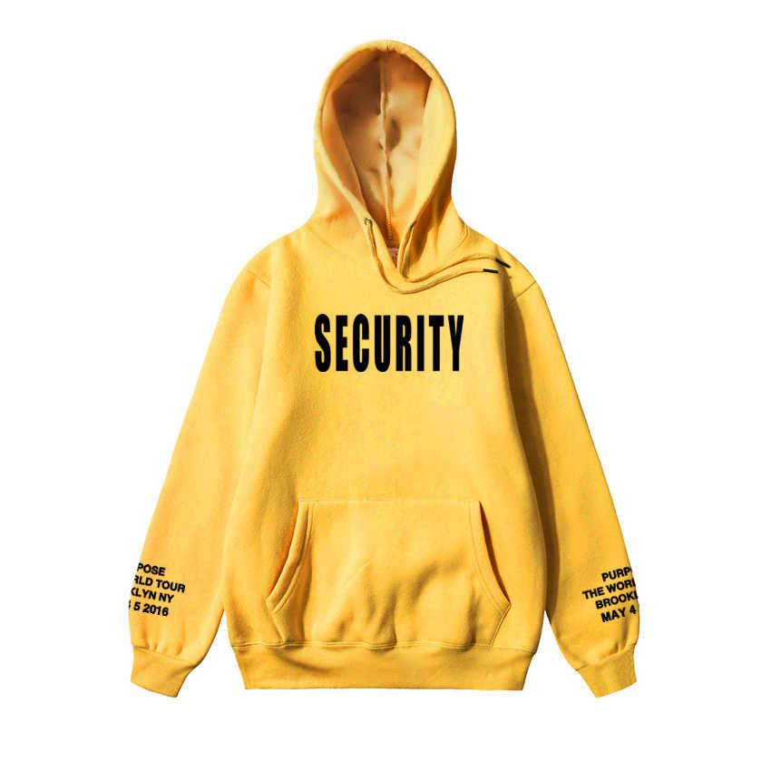 Vfiles Security Print Hoodie Justin Bieber Fog High Street Sweatshirt Bibb Purpose Tour Geel Hoodie Liefhebbers Paar Bts Hoodie