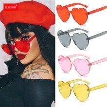 Gafas de sol de una pieza con forma de corazón para mujer, lentes de sol transparentes de plástico, estilo de gafas, Color caramelo, 1 unidad