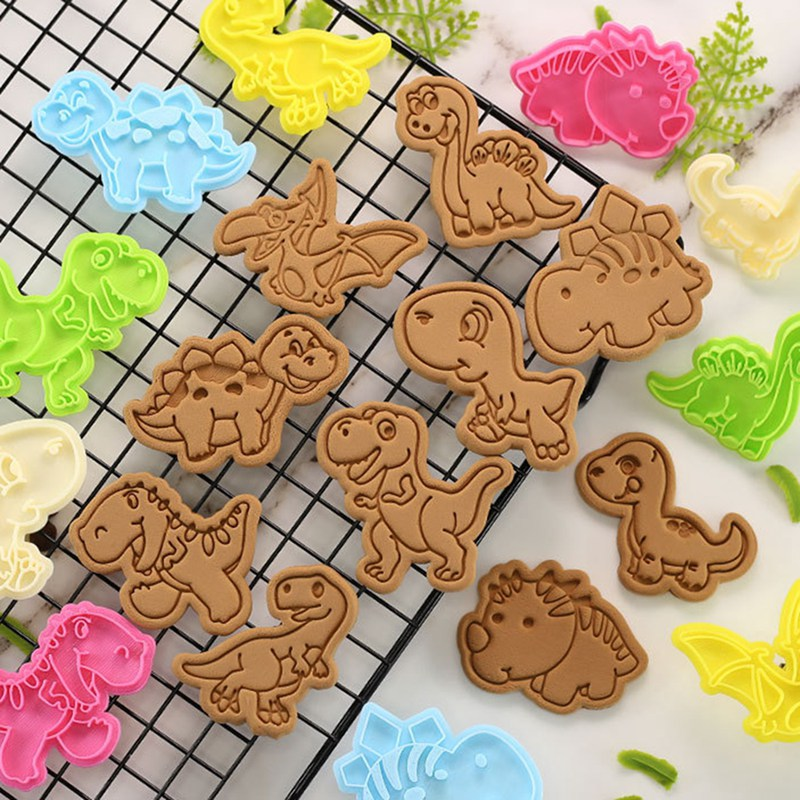 1.4US $ 20% OFF 1 Pcs Dinosaur Shape Cookie Cutters Plastic 3D Cartoon Pressable Biscuit Mold Cookie...