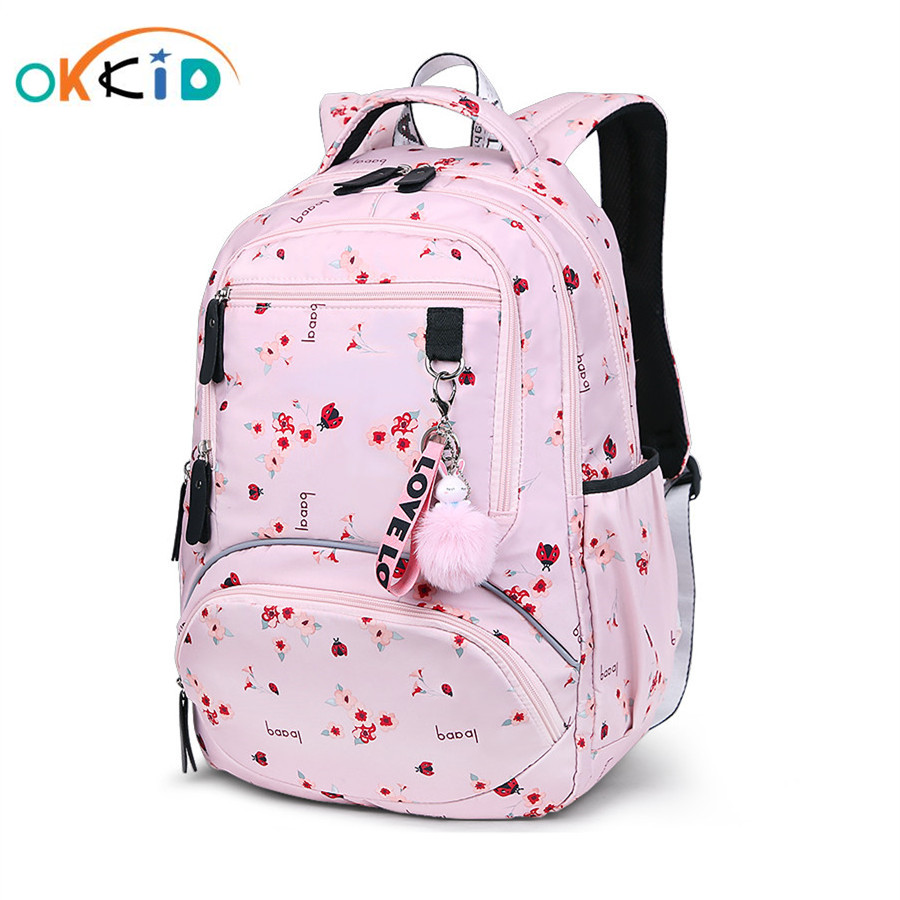 OKKID School Bags For Girls Waterproof Bookbag Student Cute Flower Backpack Children Backpacks Kids School Backpack Girl Gift