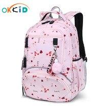 Школьный рюкзак OKKID для девочек, Водонепроницаемый Школьный рюкзак с милыми цветами для девочек