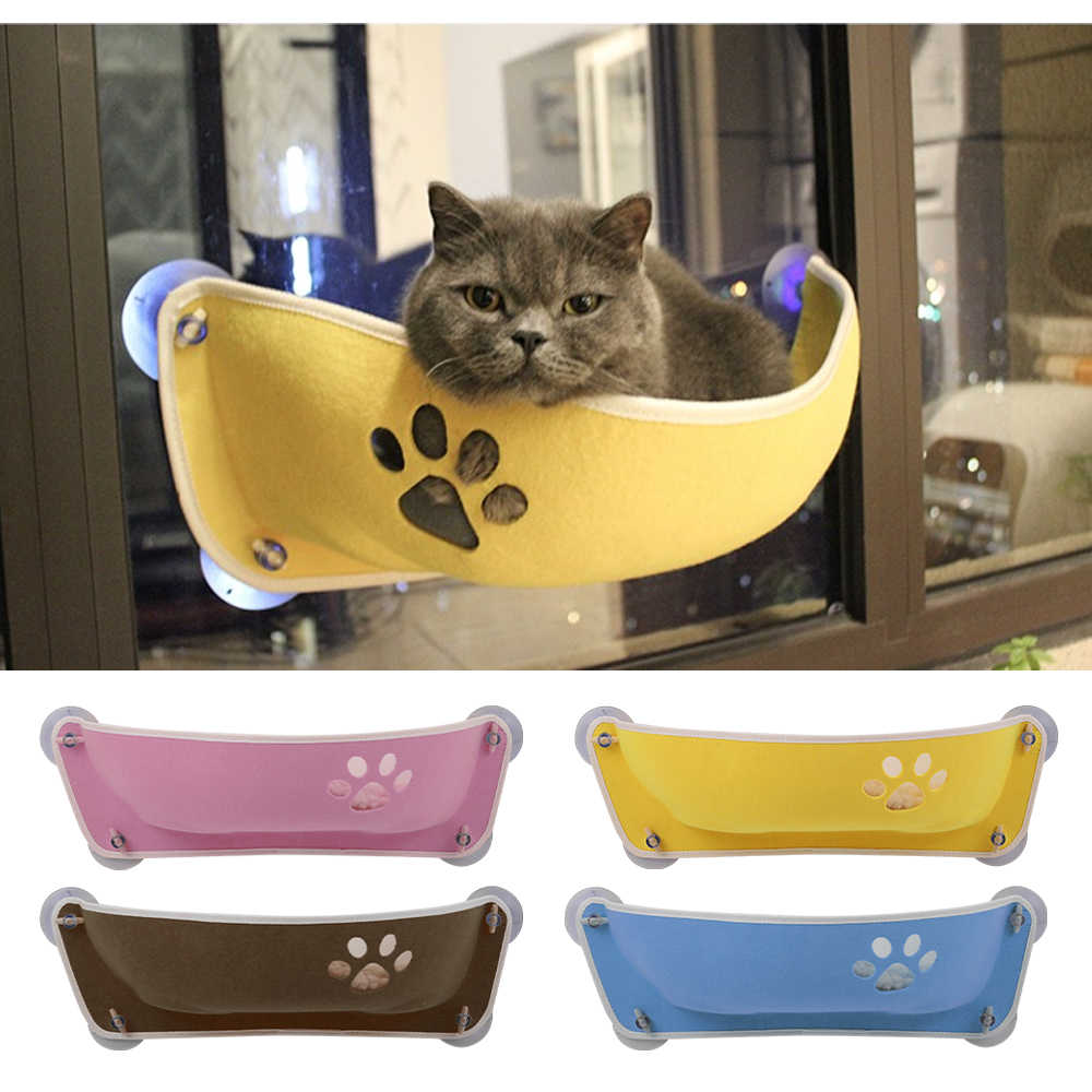 חתול מחמד חלון מיטת מוט עבור חתול ערסל חלון מיטת טבעי הרגיש חתול מיטת ספת כרית תליית מדף מושב עם יניקה כוס