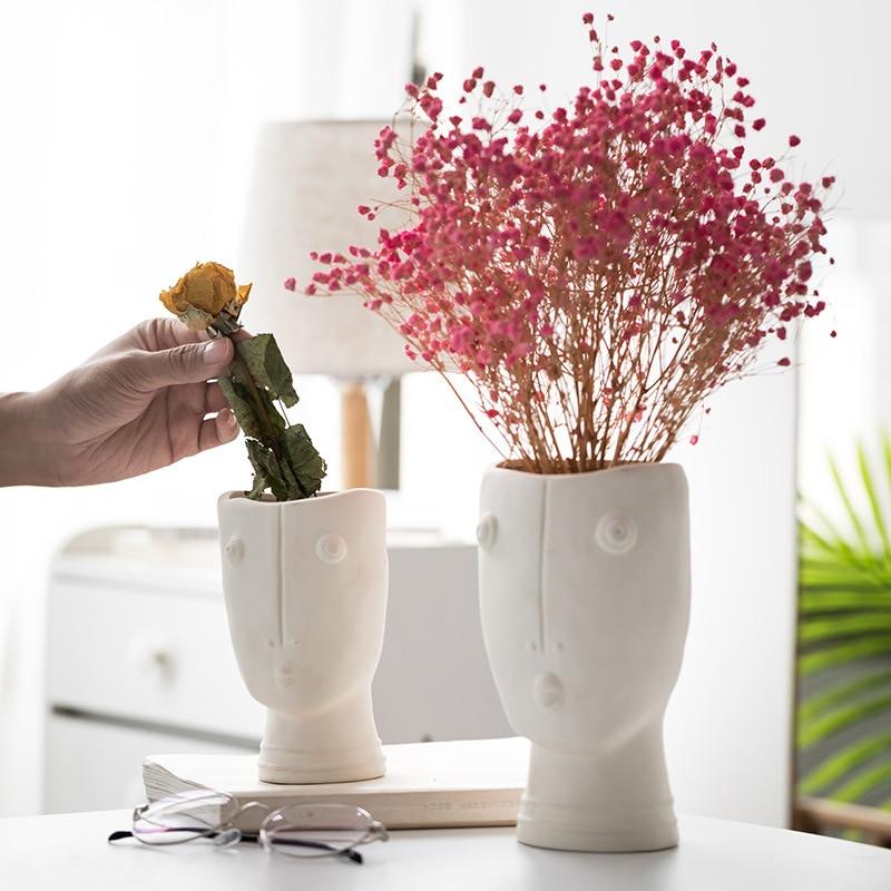 Креатив цветок горшок скандинавский абстрактный человек лицо керамика ваза гостиная комната сушилка цветок композиция ваза сад дом украшение