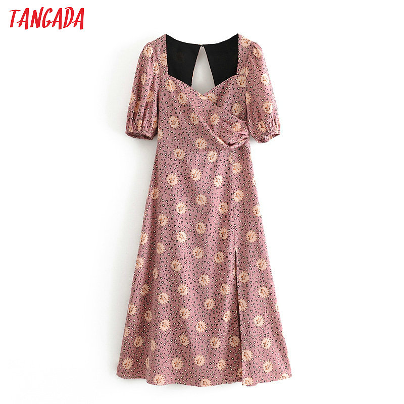 Tangada Fashion Women Print Dress Backless 2020 New Arrival Short Sleeve Ladies Sexy Midi Dress Vestidos 3H495